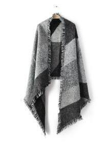 Grey Patchwork Raw Edge Shawl Scarf