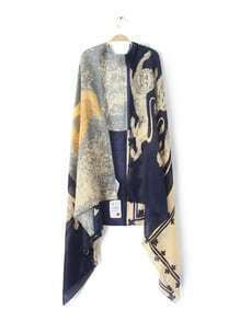 Navy Patchwork Print Voile Shawl Scarf