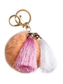 Light Orange Pom Pom Tassel Keychain