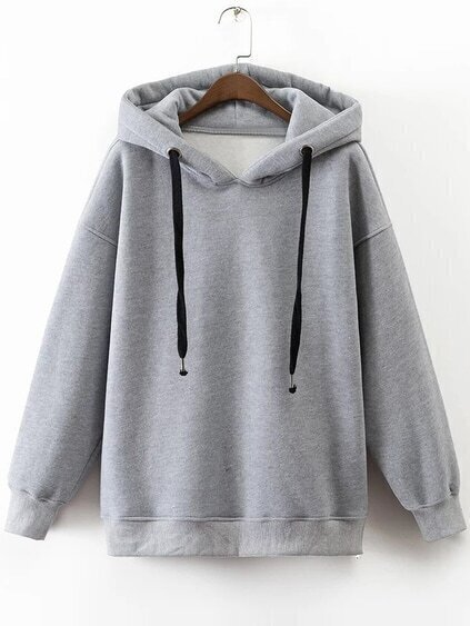 Grey Drawstring Side Zipper Hooded Sweatshirt