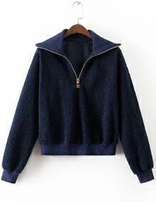 Navy Zipper Neck Ribbed Trim Sweatshirt