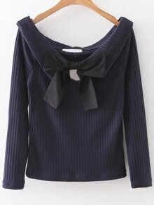 Navy Boat Neck Ribbed Knitwear With Bow