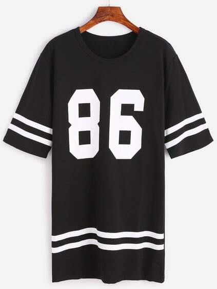 Black Number Print Varsity Striped Tee Dress