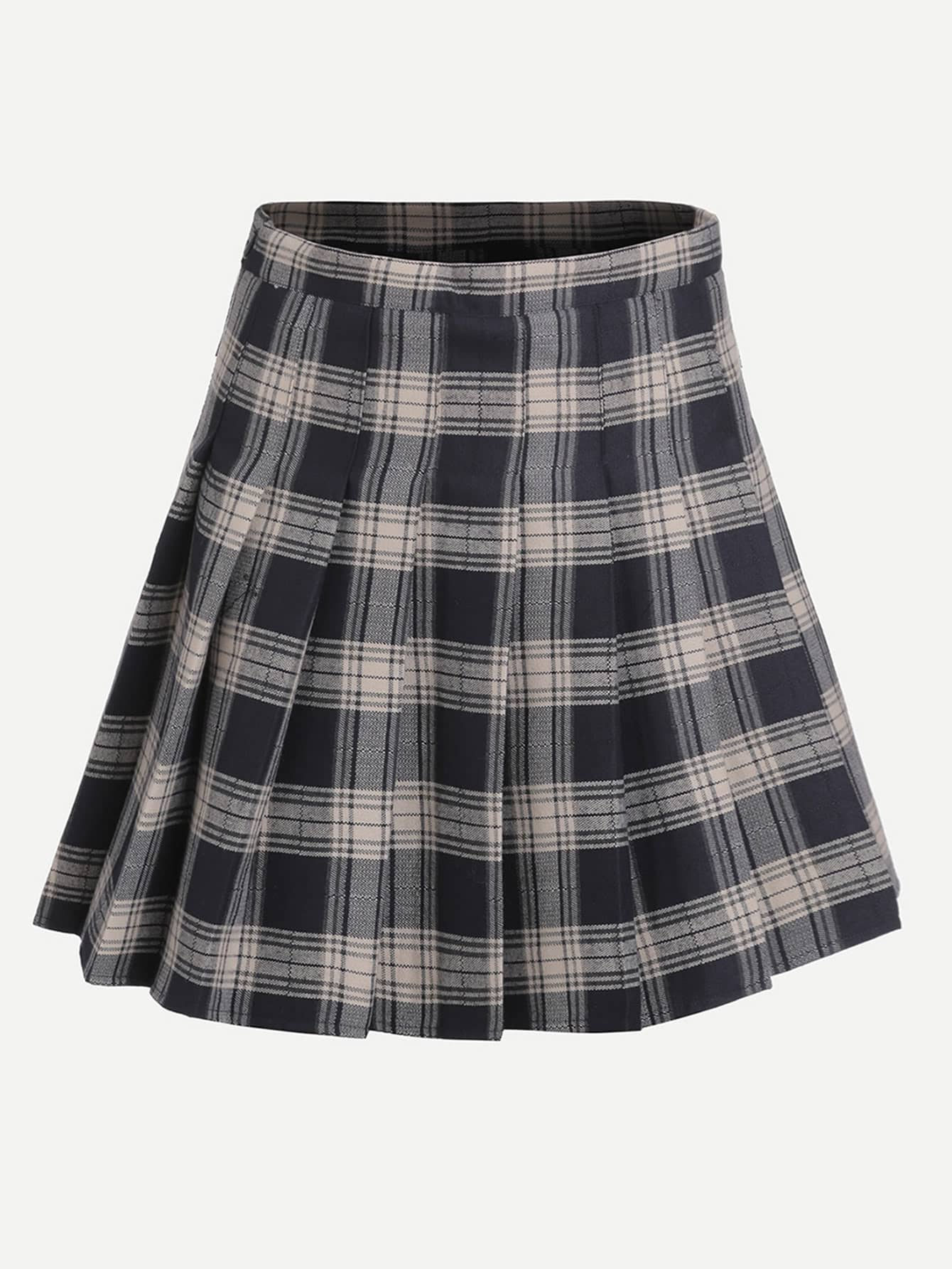 Navy Plaid Zipper Pleated Skirt