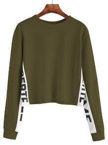 Army Green Contrast Letter Print Sweatshirt