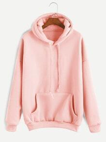 Pink Drop Shoulder Drawstring Hooded Pocket Sweatshirt