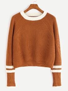 Camel Contrast Neck Striped Trim Sweater