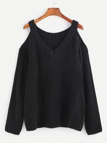 Black V Neck Open Shoulder Sweater