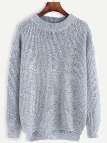 Blue Dropped Shoulder Seam Dip Hem Slit Side Sweater