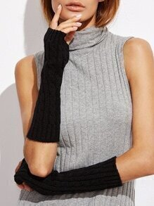 Black Cable Elbow Length Knit Fingerless Gloves