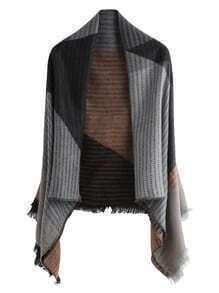 Echarpe châle en patchwork avec frange - noir