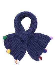 Blue Ribbed Pom Pom Trim Knit Scarf