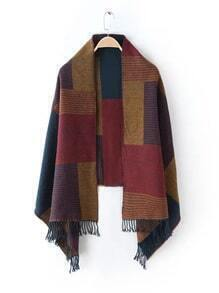 Multicolor Patchwork Fringe Edge Shawl Scarf