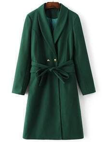 Green Shawl Collar Double Breasted Self Tie Long Coat