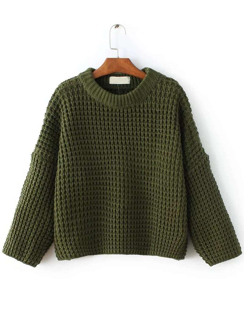 Army Green Waffle Knit Drop Shoulder Sweater