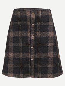 Plaid Single Breasted A Line Skirt