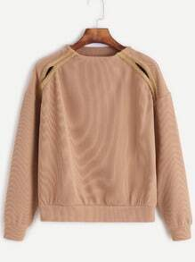 Khaki Crew Neck Cut Out Sweatshirt With Tape Detail