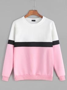 Sweat-shirt couleur bloc manche longue