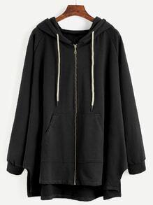 Sweat-shirt manche raglan en capuche avec lacet et zip - noir