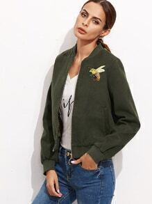 Army Green Bumblebee Embroidery Zip Up Jacket