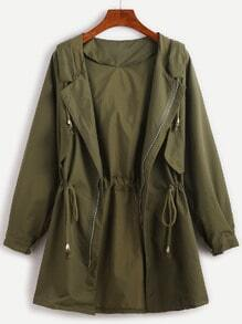 Army Green Raglan Sleeve Drawstring Hooded Coat