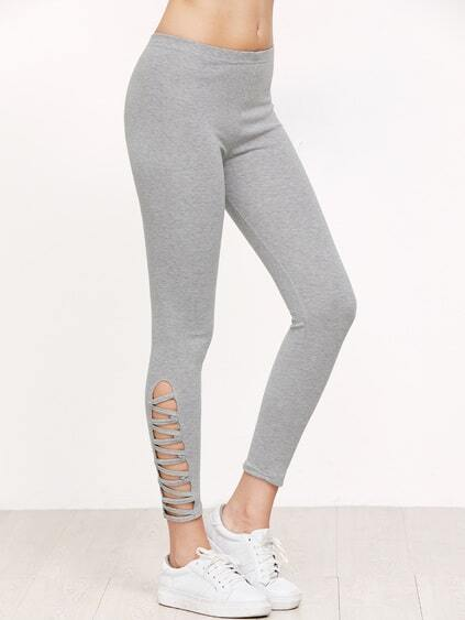 Leggings mit Lattice Saum -grau