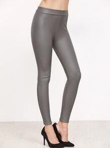 Grey Faux Leather Leggings
