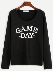 T-Shirt Buchstaben Druck-schwarz