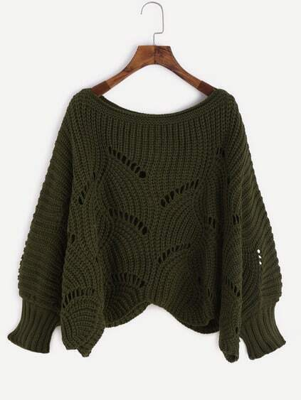 Army Green Lantern Sleeve Hollow Chunky Knit Sweater