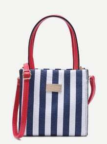 Navy Stripe Metal Patch Fashion Canvas Tote With Strap