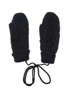 Black Cable Textured Knit Mittens