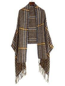Yellow Houndstooth Fringe Edge Shawl Scarf