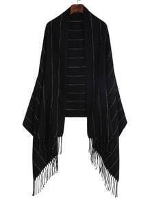 Black Stripe Long Fringe Shawl Scarf