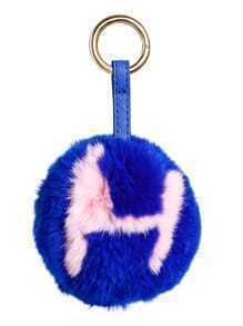 Porte-clés motif lettre avec pompon - bleu