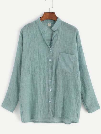 Light Green Band Collar Drop Shoulder Pocket Blouse
