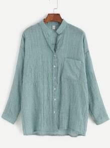 Light Green Band Collar Drop Shoulder Pocket Blouse