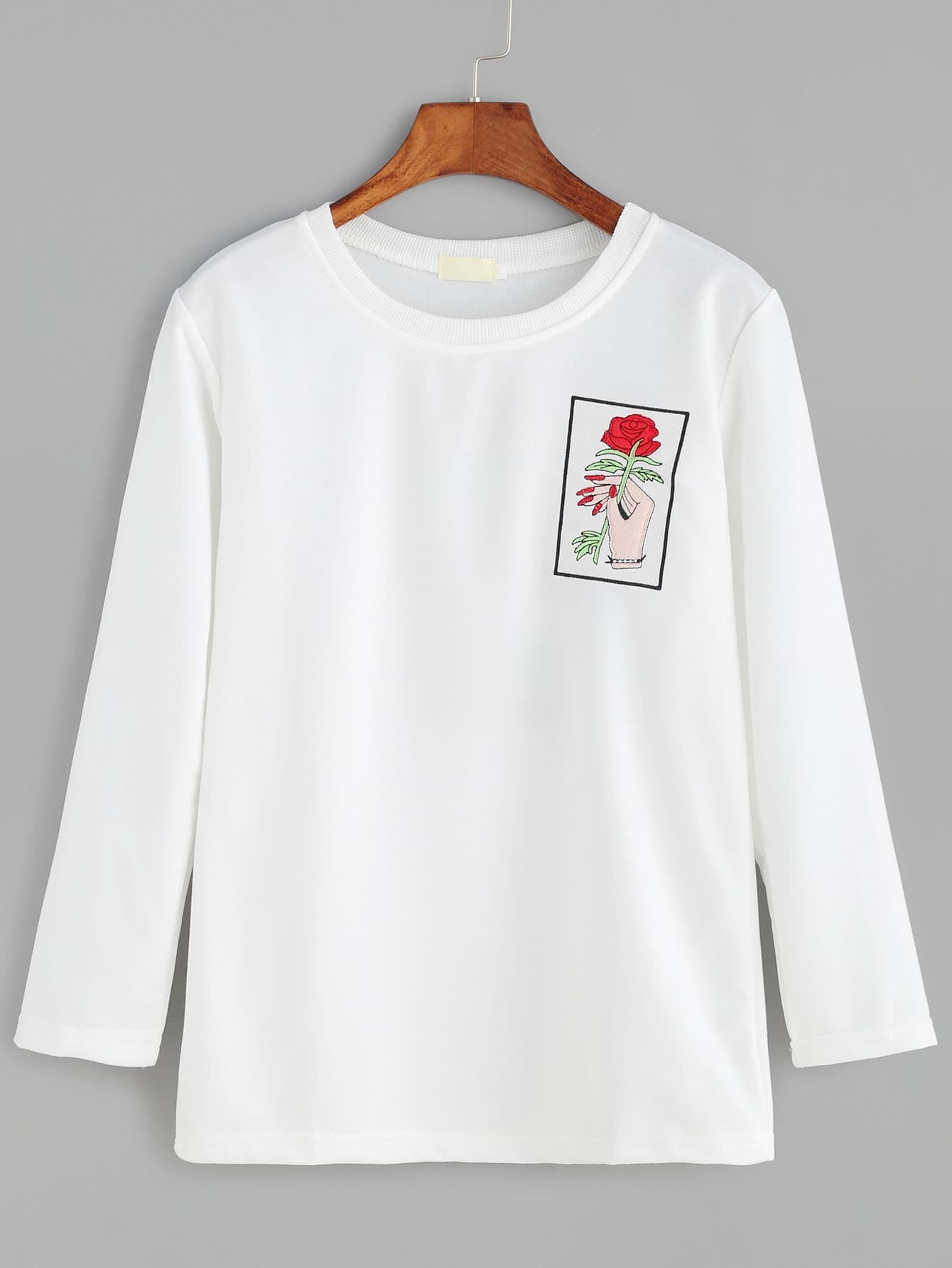 White hand and rose embroidery t shirt