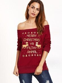 Sweat-shirt imprimé Noël col bateau - bordeaux