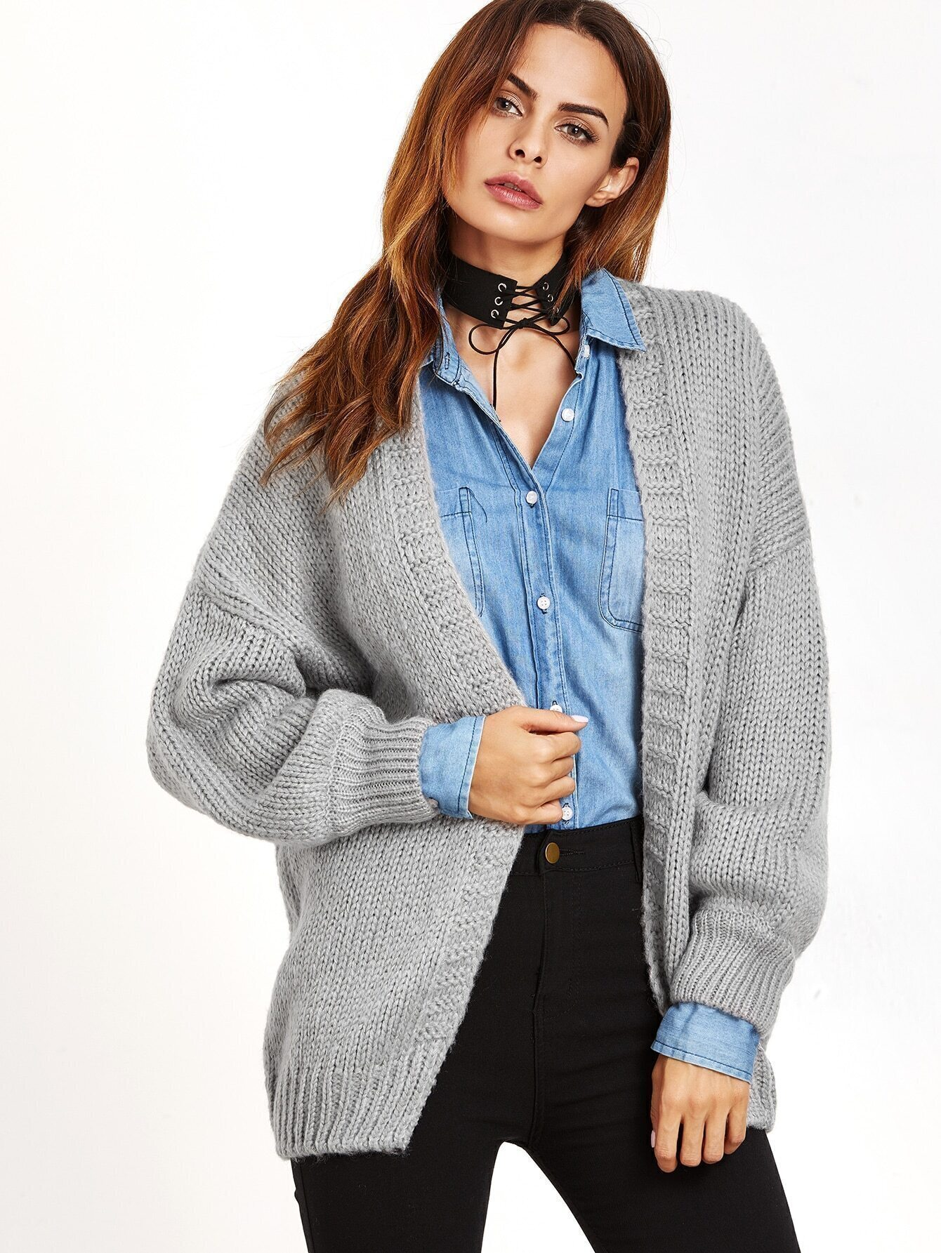 Light Grey Dropped Shoulder Seam Sweater Coat