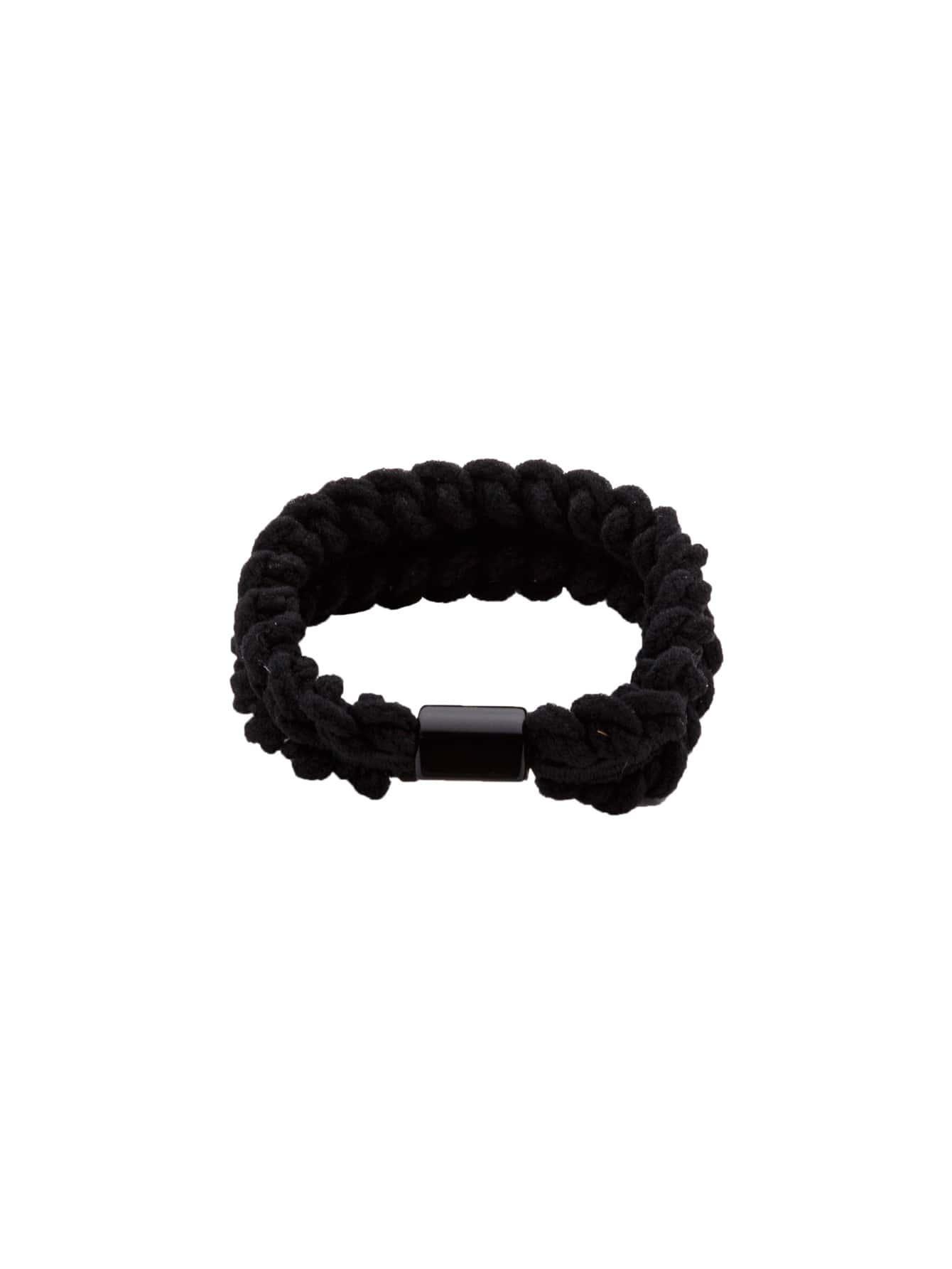 Black Braided Elastic Hair Tie