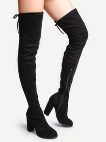 Black Faux Suede Point Toe Tie Back Knee Boots
