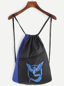 Blue and Black Logo Print Drawstring Nylon Bucket Bag