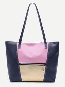 Blue Faux Leather Front Zipper Tote Bag