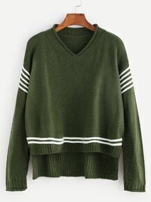 Army Green V Neck High Low Striped Trim Sweater