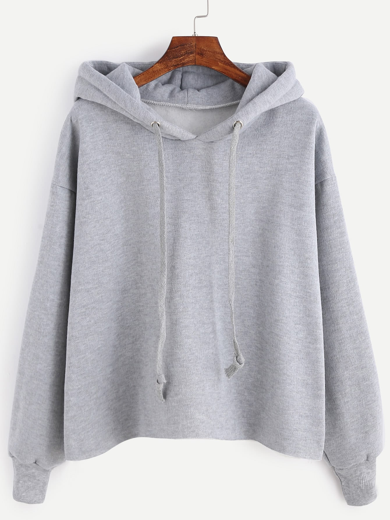 Grey Drawstring Hooded Sweatshirt
