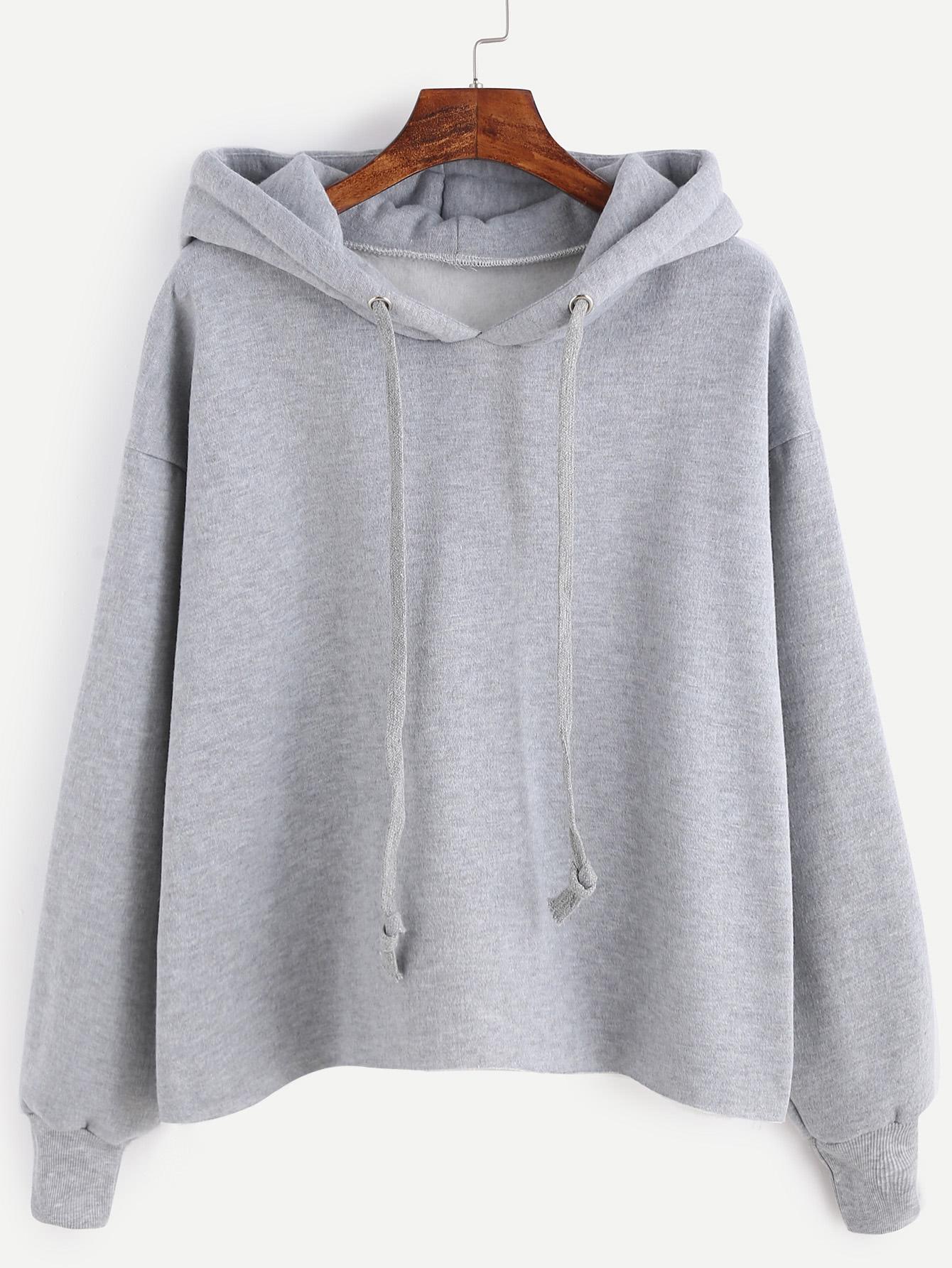 Grey Drawstring Hooded Sweatshirt