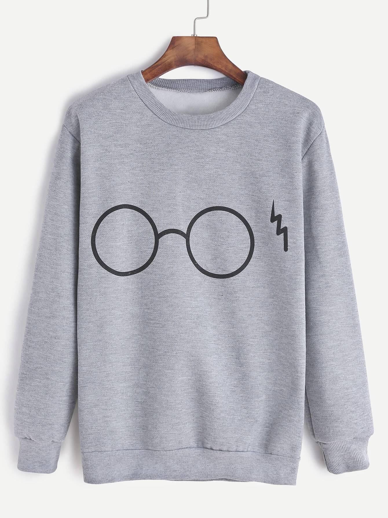 Grey Glasses Print Sweatshirt