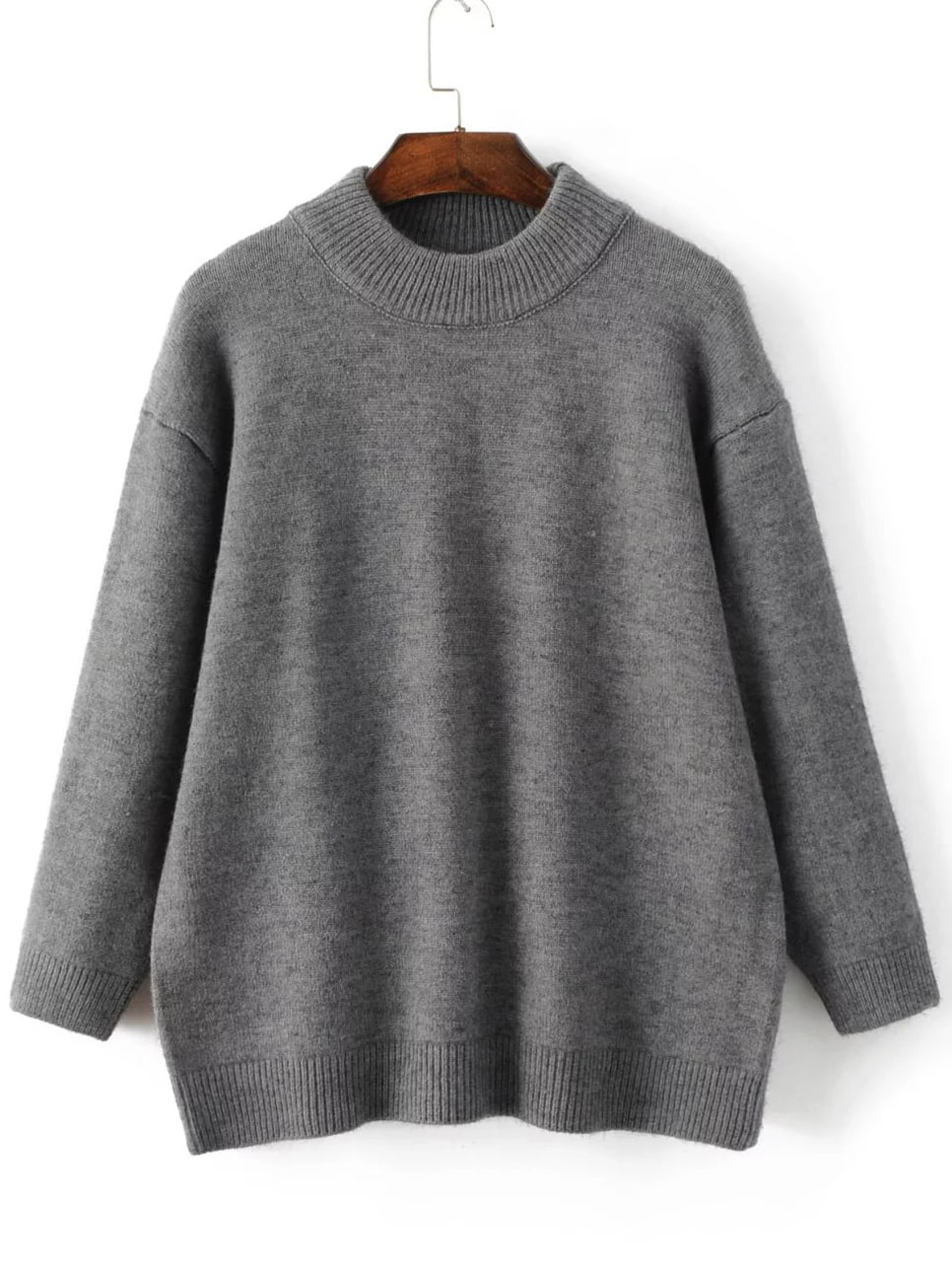 Grey Crew Neck Ribbed Trim Sweater