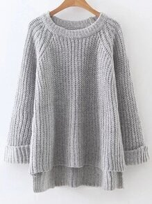 Light Grey Raglan Sleeve Dip Hem Sweater