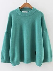 Blue Face Patch Drop Shoulder Sweater
